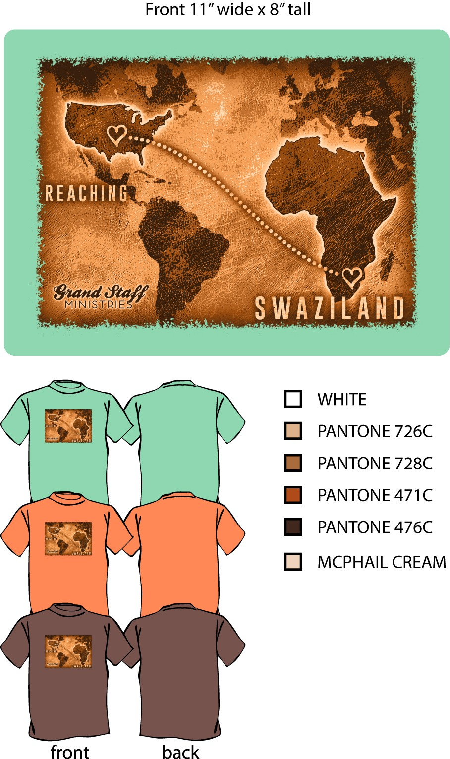 Reaching Swaziland Men's T-shirt, brown